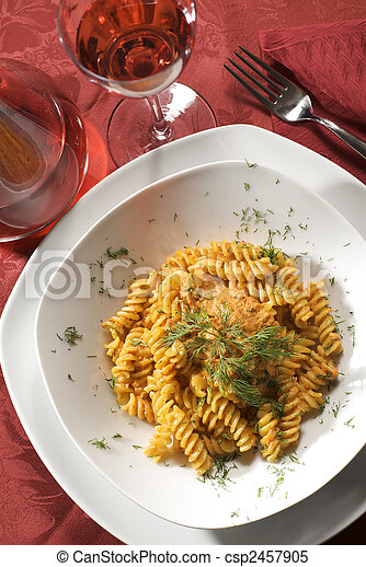 fusilli pasta with tomato sauce and herb - csp2457905