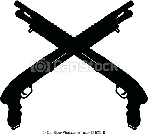 Dessin Fusil De Chasse fusils chasse, pompe, deux. court, pompe, deux, fusils chasse