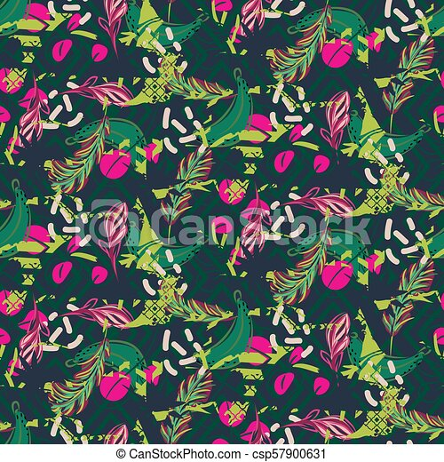 Fusion Exotic Jungle Juicy Greens Tropical Palm Pattern Seamless Vector Nature Geometric Backdrop Wallpaper
