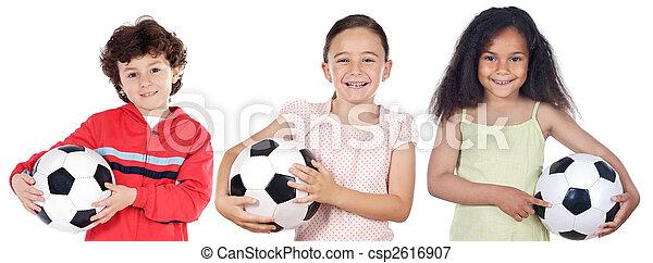 futball, gyerekek, labda - csp2616907