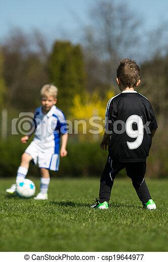 futball, játék, két, gyerekek - csp19644977