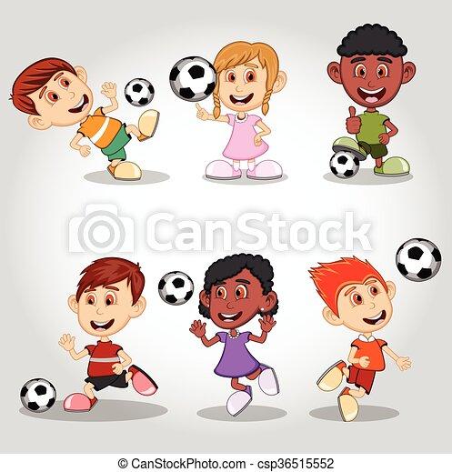 Un grupo de niños jugando al fútbol - csp36515552