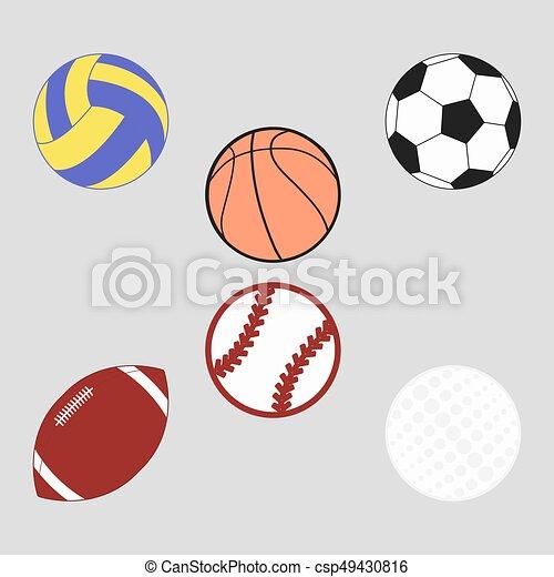 Futbol, conjunto, pelotas, deportes. Pelotas, golf, futbol, fútbol ...