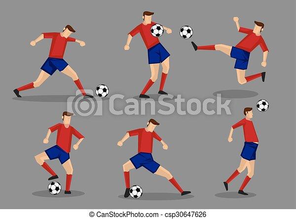 Jugador de fútbol pateando la cabeza y poses de tiro - csp30647626