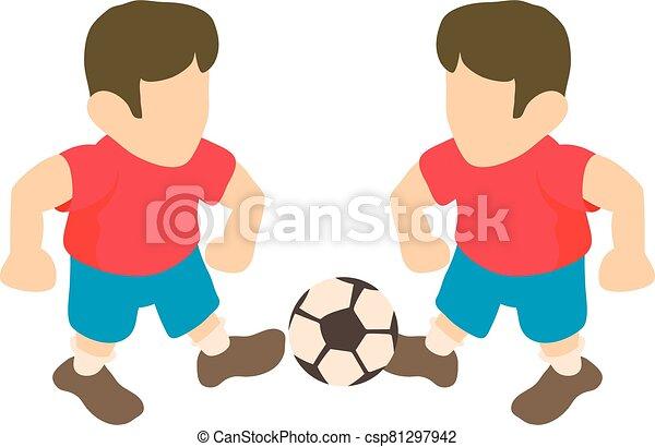 futbol, estilo, isométrico, icono, jugador - csp81297942