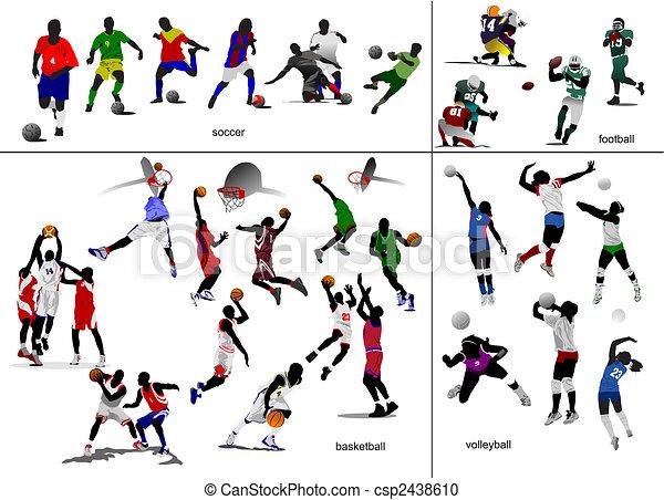 Juegos con pelota. Fútbol, fútbol, baloncesto, voleibol. Ilustración de vectores - csp2438610