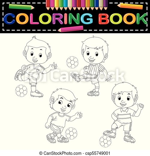 Futbol, libro colorear. Futbol, libro, colorido, ilustración.
