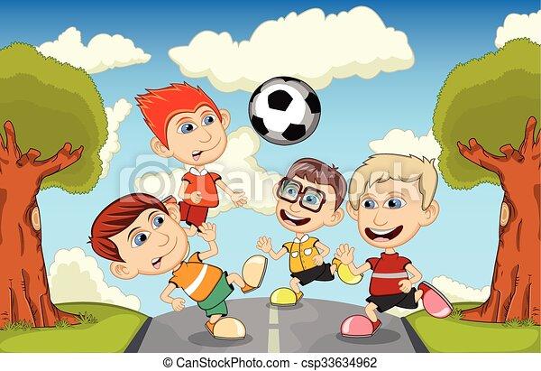 Futbol Ninos Jugar Futbol Caricatura Calle Juego Ninos