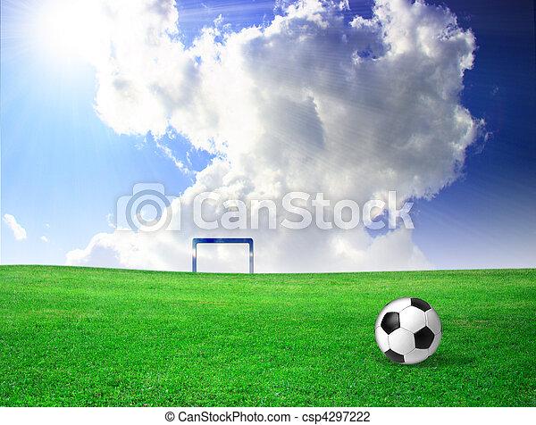 Bola de fútbol en la hierba - csp4297222