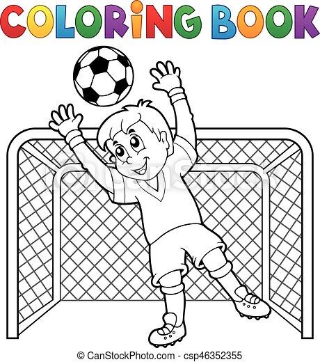Futbol, tema, 2, libro colorear. Colorido, eps10, illustration ...
