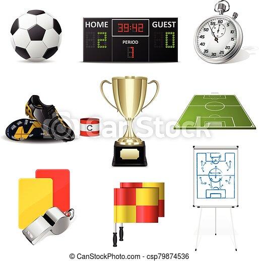 futbol, vector, iconos - csp79874536