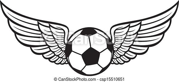 futebol, emblema, asas, bola - csp15510651