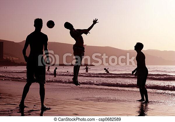 futebol, praia - csp0682589