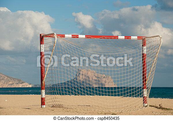 futebol, praia, meta - csp8450435