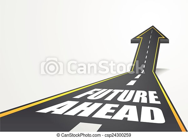 Detailed illustration of a highway road going up as an for Future planner online