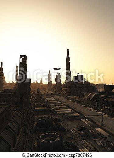Future City Streets at Sunrise