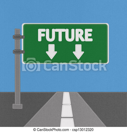 Future sign concept with stitch style on fabric background - csp13012320