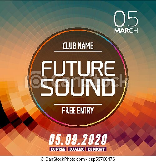 Future sound music party template, dance party flyer, brochure ...