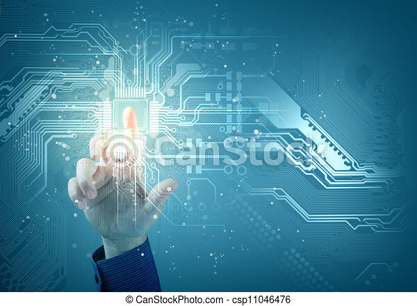 future technology. touch button inerface - csp11046476