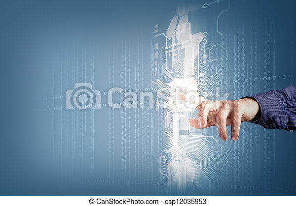 future technology. touch button inerface - csp12035953