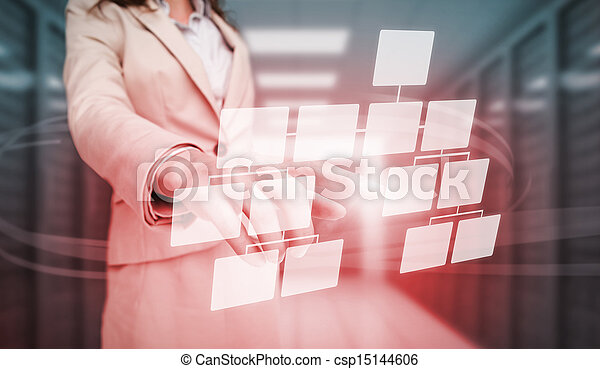 Mujer de negocios tocando b futurista - csp15144606