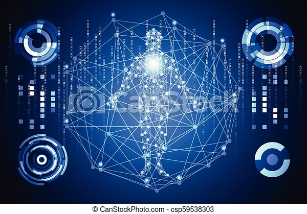 futuriste, corps, données, communication, technologie, ;, avenir, arrière-plan., humain, calculer, technologie, salut, diagramme, interface, services médicaux, éléments, hologramme, conception, hud, ui, numérique, concept abstrait - csp59538303