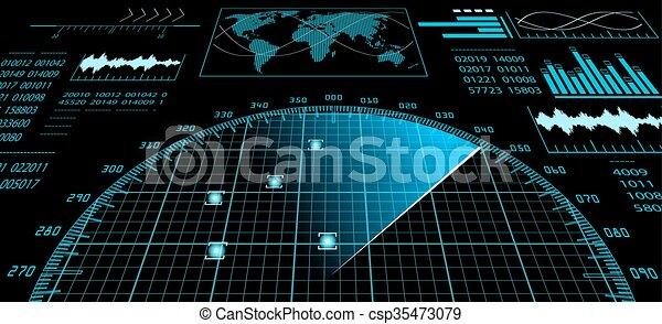 futuriste, hud., radar, interface, écran, utilisateur - csp35473079