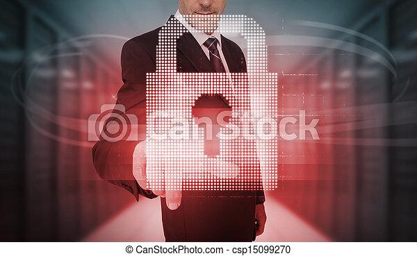 futuriste, rouges, toucher, homme affaires - csp15099270