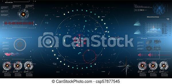 futuriste, tableau bord, réalité, vitrual, display., screen10, sci-fi, technologie, hud - csp57877545