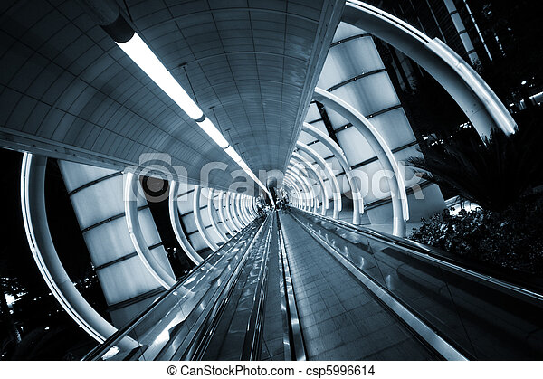 Futuristic architecture. Tunnel with moving sidewalk. - csp5996614