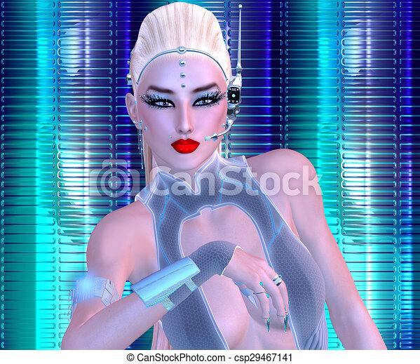 Futuristic Business Woman - csp29467141