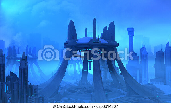Futuristic city - csp6614307