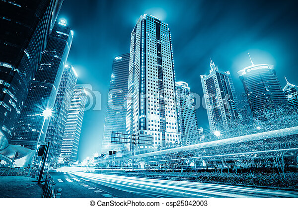 futuristic city with light trails - csp25042003