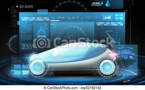 futuristic concept car and virtual screens - csp52162142