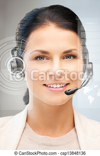 futuristic female helpline operator - csp13848136