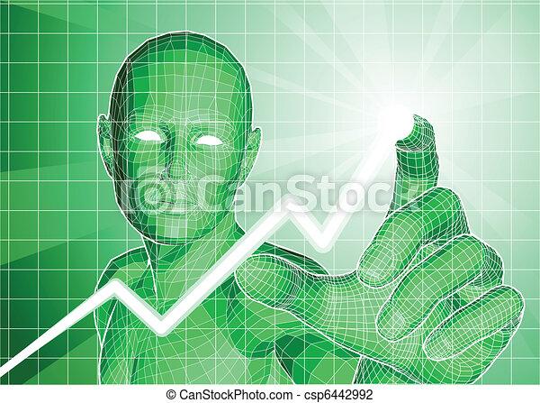 Futuristic figure tracing upwards trend on graph - csp6442992