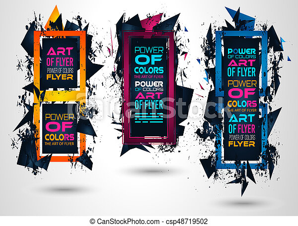 Futuristic Frame Art Design With Abstract Shapes And Drops Of Colors