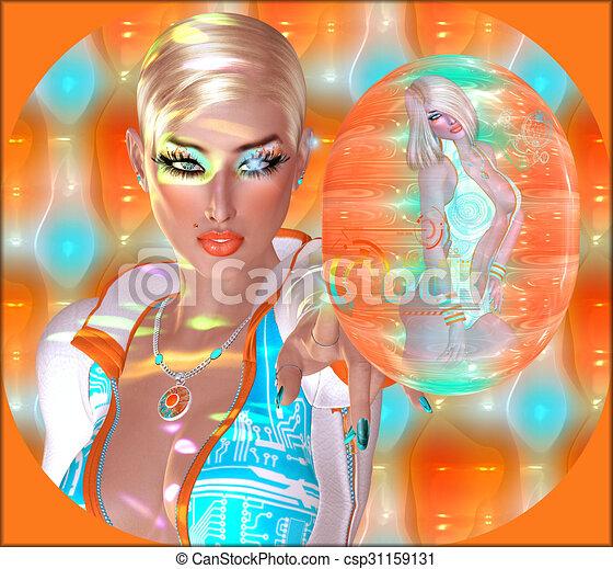 Futuristic girls - csp31159131