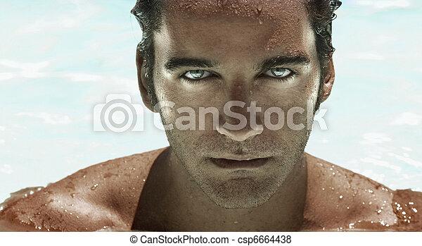Futuristic man face - csp6664438