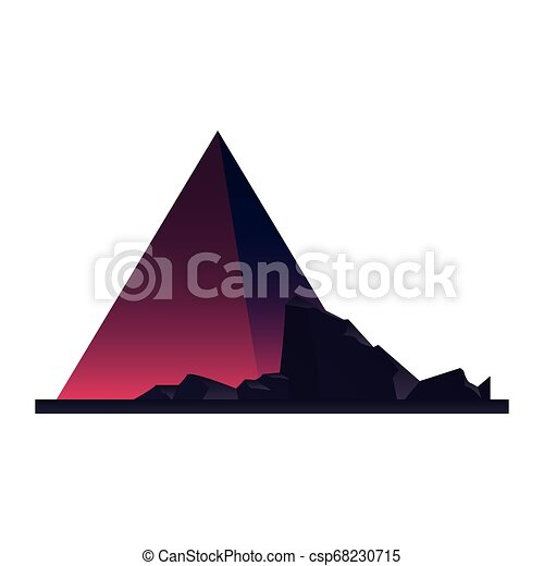 futuristic pyramid rocks on white background - csp68230715