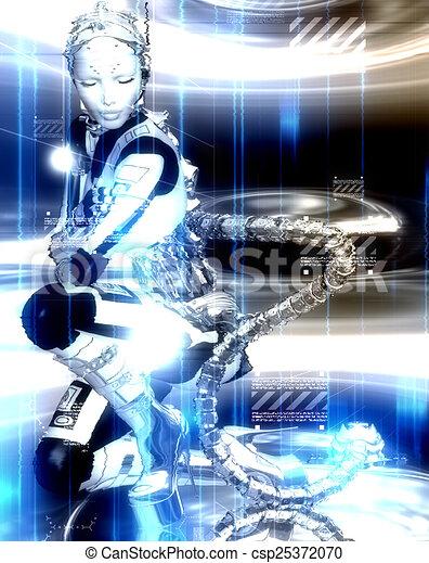 Futuristic robot girl in blue - csp25372070
