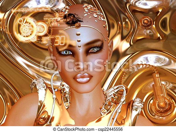 Futuristic Robot Girl,Gold - csp22445556