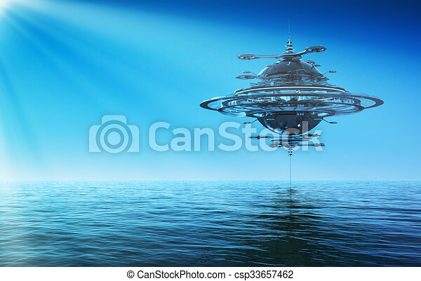 Futuristic Sky Station In Rays Of the Sun - csp33657462