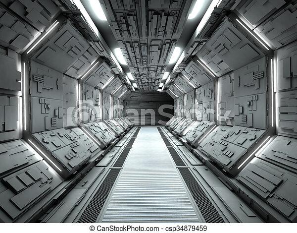Nice Futuristic Spaceship Interior   Csp34879459
