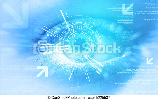 Futuristic technology user interface with an user eye on the background - csp45225537