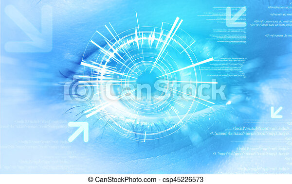 Futuristic technology user interface with an user eye on the background - csp45226573