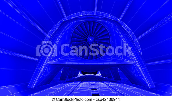 Futuristic train module on magnetic track blueprint drawing futuristic train module on magnetic track blueprint background 3d rendering csp42438944 malvernweather Gallery