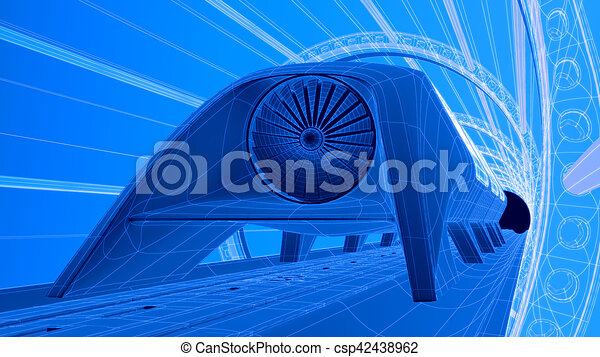 Futuristic train module on magnetic track blueprint stock futuristic train module on magnetic track blueprint background 3d rendering csp42438962 malvernweather Gallery
