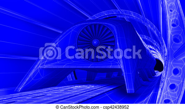 Futuristic train module on magnetic track blueprint stock futuristic train module on magnetic track blueprint background 3d rendering csp42438952 malvernweather Images