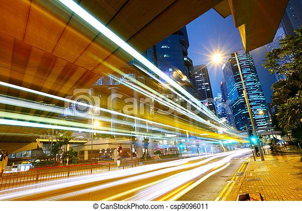 futuristic urban city with car light - csp9096011